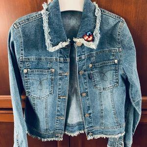 Cool Blue jean jacket US flag for girls age 9 - 10